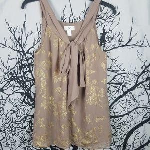 Loft | Sleeveless Tan & Gold Silk Blouse m